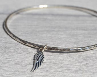Sterling Silver Bangle with Angle Wing Charm, Angle Wing Bangle, Angel Wing Jewellery, Silver Bangle, Silver Bracelet, Bracelet Bangle