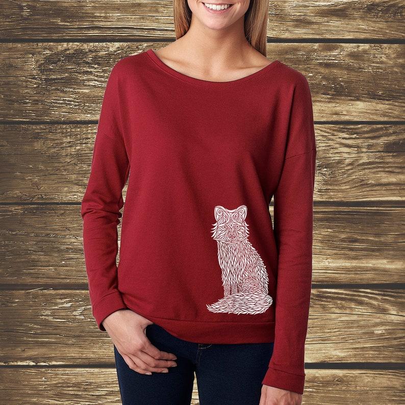 WOMENS FOX SHIRT, Arctic Fox Shirt, Fox Spirit Animal, Ladies Fox Top, Fox  Lover Gift, Alaskan Shirt, Long Sleeve Fox Shirt, Forest Shirt