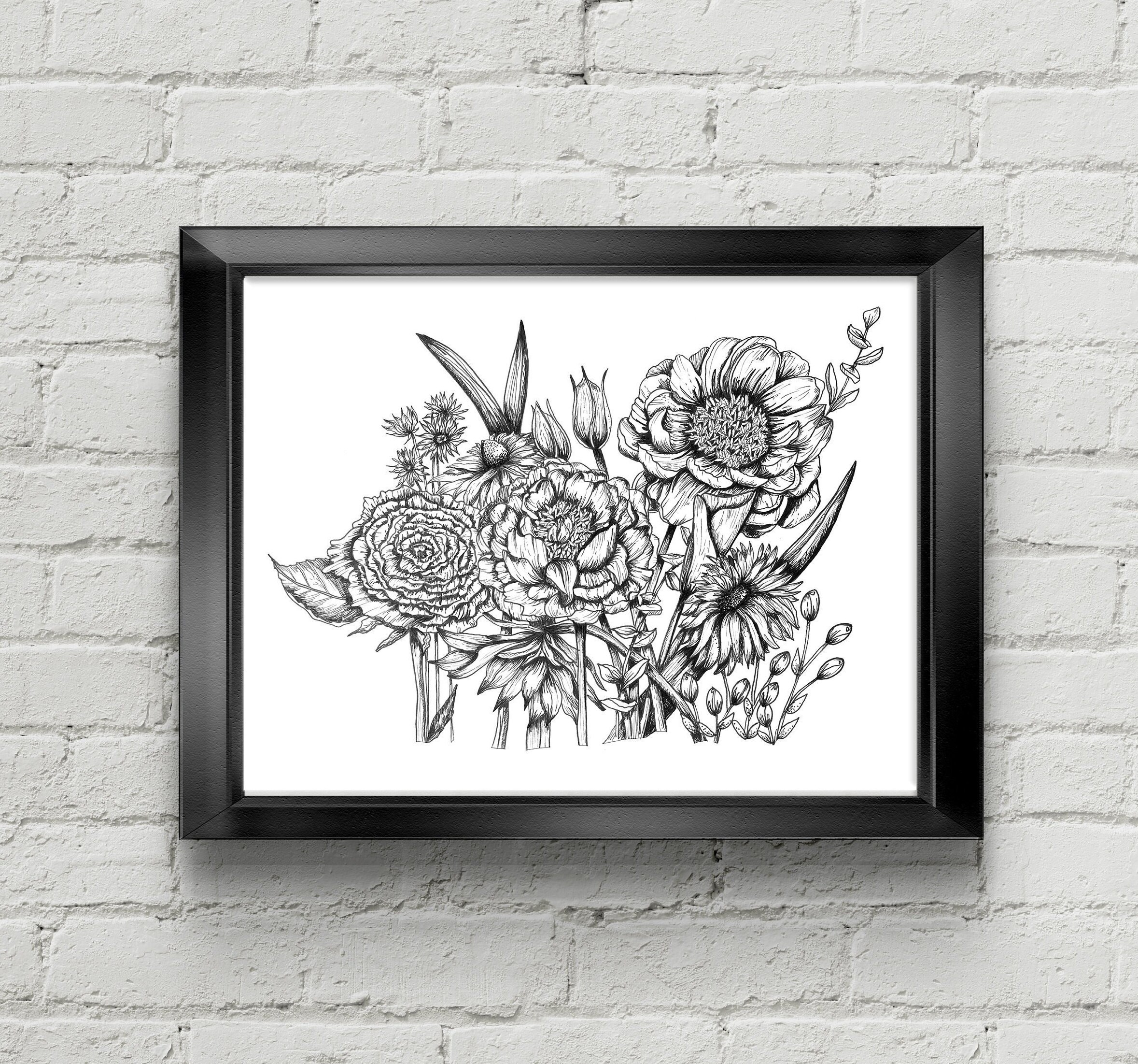 Flower Bouquet Black And White Art Print Tattoo Style Etsy