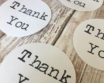 Typewriter Style Vintage Thank You Stickers