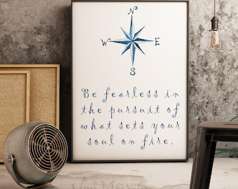 Be Fearless Quote Print Nautical Design