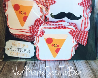 Pizza & Mustache Party Banner