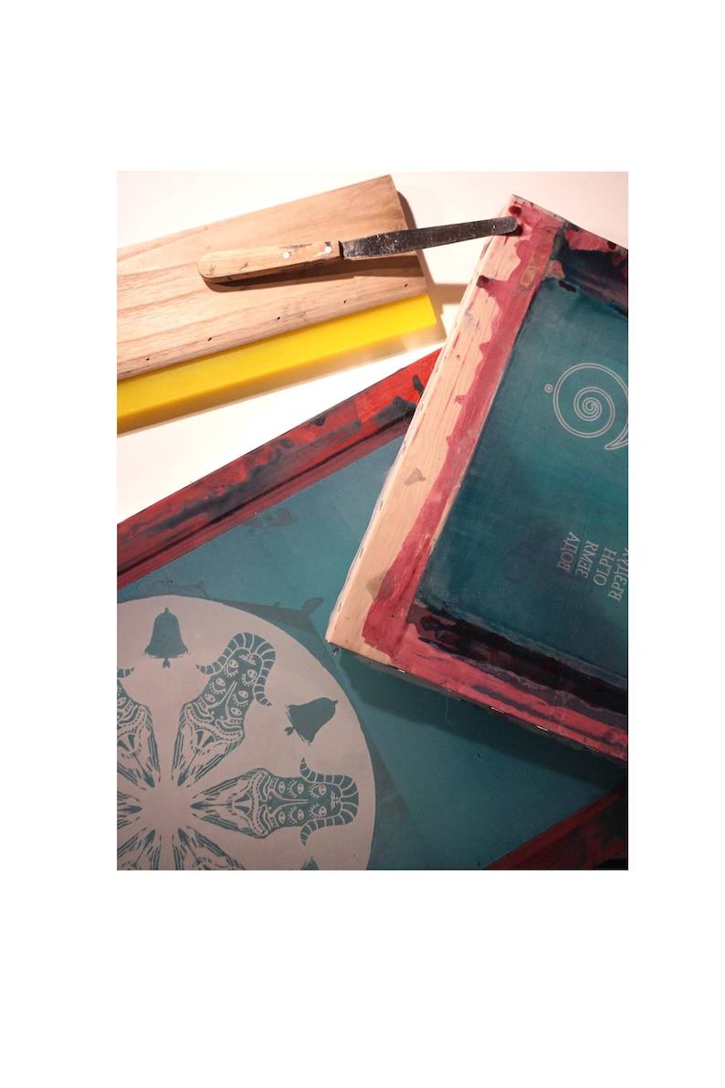 handdrawn grocery bag mandala art yoga bag forestelf handprinted geometric white bag Screenprint Canvas Tote Bag triangle spirale