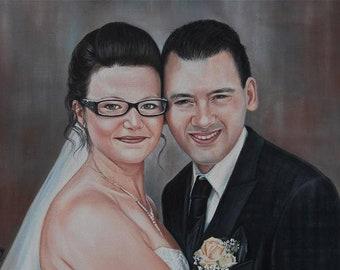 Wedding Portrait, Bride Couple, Custom, Personalized, Original Oil Painting, Woman, Man Portrait, Painting, Post Photo Template, Painting