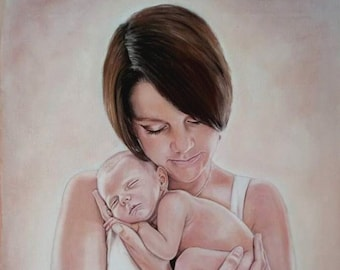 Portrait ,mother with baby, newborn child, portrait of photo, according to personal photo template, family portrait, commission painting of photo