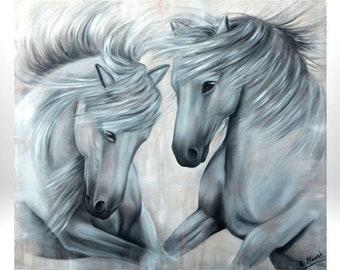 Custom pet portrait, animal portrait, horse portrait, animal painting, horse art, horse painting, portrait of photo