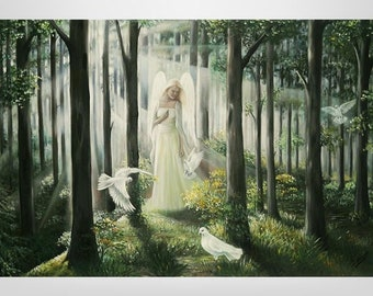 Guardian angels, angels, oil paintings, esotericism, forest, fantasy, customer specific, painting, mystical, Personal angels, personalized paintings, pigeons