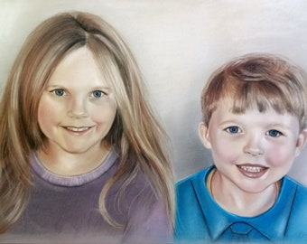 Custom portrait from photo, family portrait,kids portrait, according to your personal photo template, custom portrait,hand painted