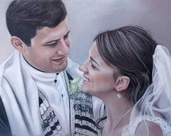 Wedding portrait, newlyweds, family portrait, personalized original drawing, man portrait, woman portrait, by photo template, love couple