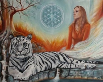 Personalized Original Oil Painting, Portrait, Tiger, Surralism, Fantasy, Symbolism, Flower of Life, Tree of Life, After photo