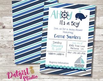 Ahoy its a boy nautical baby shower printable DIY invitation