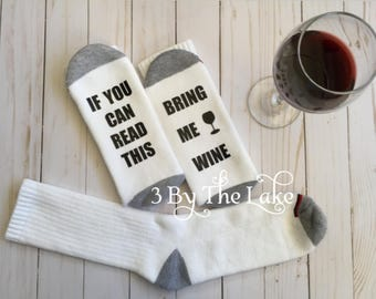 If you can Read This, Bring Me Wine, Men's Athletic Funny Wine Socks