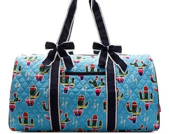Monogrammed Hot pink lime green pineapple large quilted duffle bag with navy blue bows