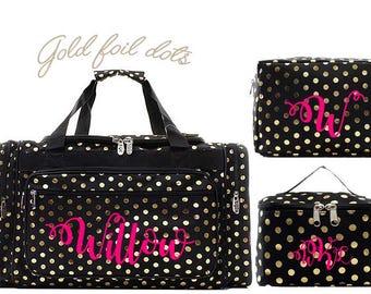 220a275b0 Black and Gold polka dot duffel bag, Monogrammed duffel bag,monogrammed  luggage Bridal, travel duffle, personalized duffle, monogram duffle