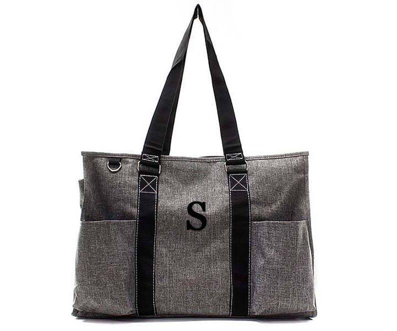 Market Tote Diaper bag Medium Personalized Grey Stonewash denim Monogram Utility Tote Laundry tote