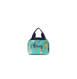 Monogram Aqua and Gold Feather Lunch bag set personalized lunch tote insulated lunch bag