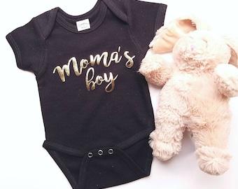 Metallic gold and black Moma's Boy infant bodysuit baby shower gift for boys