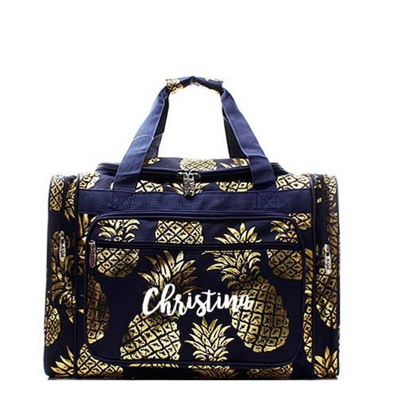 Monogrammed Navy and Gold Pineapple Duffel bag image 0