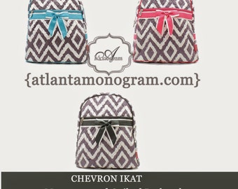 Personalized quilted Grey Pink Chevron backpack monogram gift custom embroidery monogrammed backpack monogram bookbag personalized initials