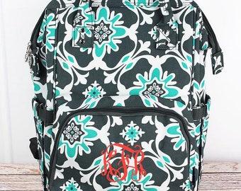 Monogram 3pc Diaper Bag Set, Personalized diaper Serene Garden Diaper bag