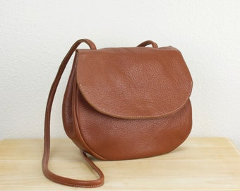 cf5f271b8 Soft rounded leather bag, women's brown leather crossbody bag, simple  leather shoulder purse for women