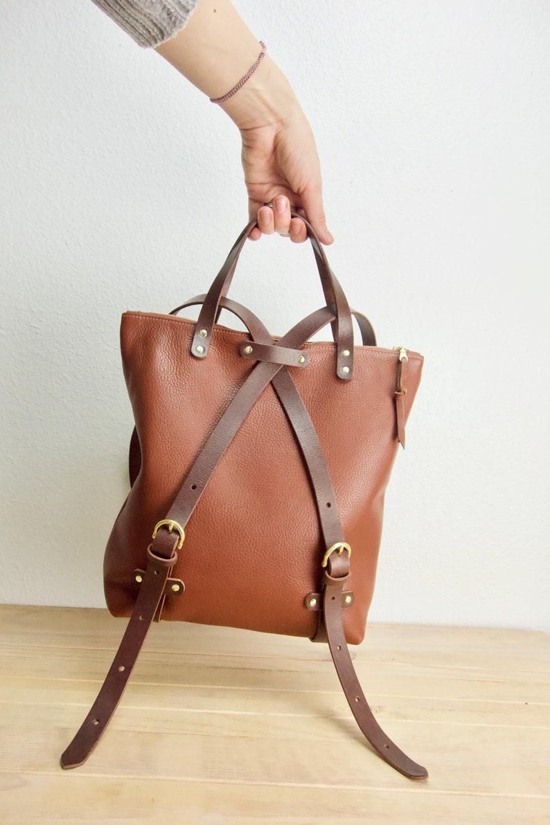 2f2e2a219fb Brown leather convertible backpack for women, leather women's backpack  purse in brown leather