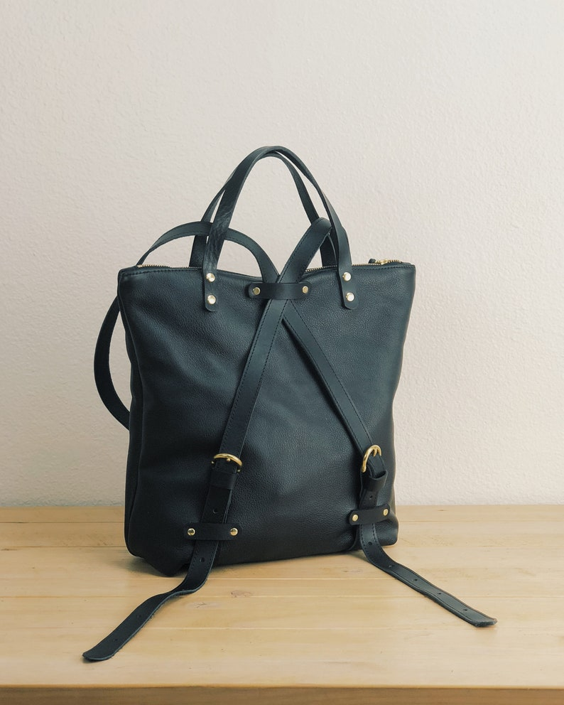 507f93098cd Black leather women's backpack purse medium size leather backpack for women