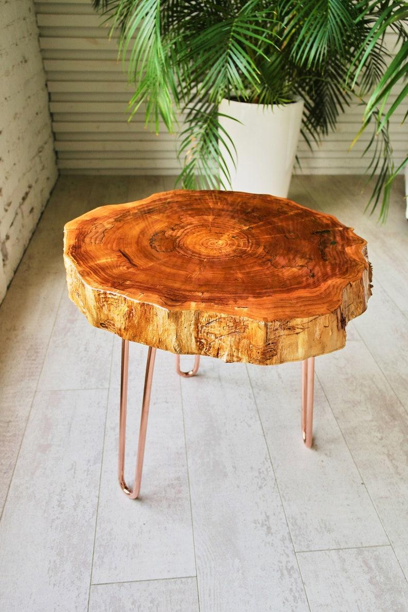 Wood Slice Coffee Table.Tree Slice Coffee Table Round Live Edge Coffee Table Corner Table End Table Side Table Mid Century Modern Coffee Table With Copper Legs
