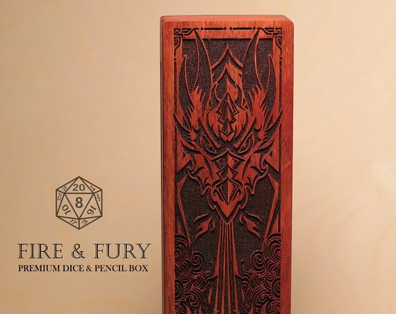 Dice and Pencil Box - Dragon - Fire & Fury - RPG, Dungeons and Dragons, DnD, Pathfinder, Table Top Role Playing Accessories by Eldritch Arts
