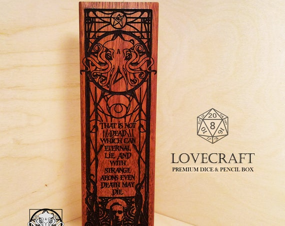 Dice and Pencil Box - LOVECRAFT - RPG, Dungeons and Dragons, DnD, Pathfinder, Table Top Role Playing and Gaming Accessories by Eldritch Arts