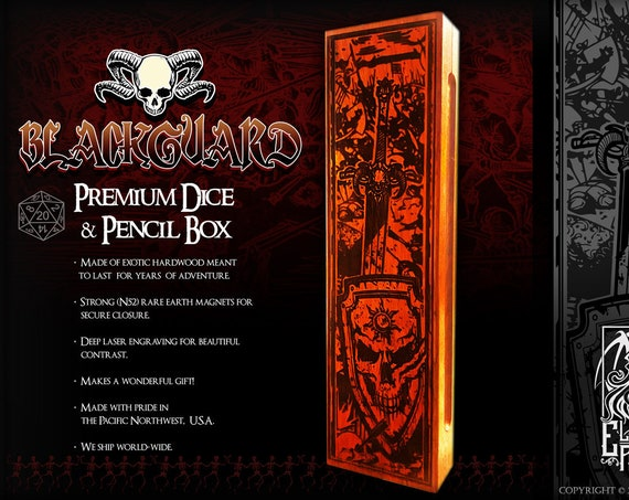 Dice & Pencil Box - BLACKGUARD - RPG, Dungeons and Dragons, DnD, Pathfinder, Role Playing and Gaming Accessories by Eldritch Arts