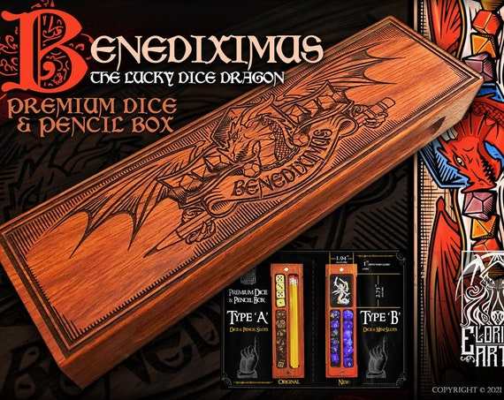 Dice & Pencil Box - Benediximus Dice Dragon - RPG, Dungeons and Dragons, DnD, Pathfinder, RPG Accessories by Eldritch Arts