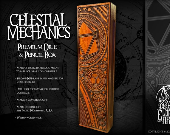 Dice & Pencil Box - Celestial Mechanics - RPG, Dungeons and Dragons, DnD, Pathfinder, RPG Accessories by Eldritch Arts