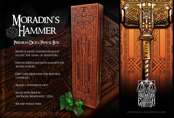 Dice & Pencil Box - Grand Moradin's Hammer - RPG, Dungeons and Dragons, DnD, Pathfinder, RPG and Gaming Accessories by Eldritch Arts