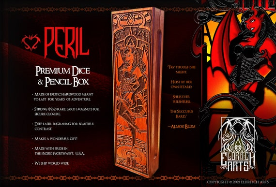 Dice & Pencil Box - Peril - RPG, Dungeons and Dragons, DnD, Pathfinder, Table Top Role Playing and Gaming Accessories by Eldritch Arts