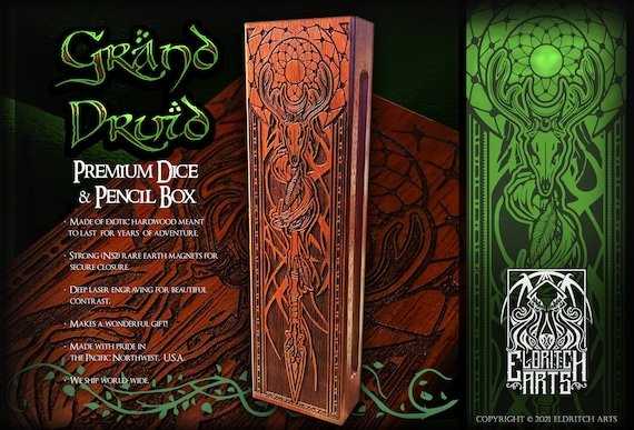Dice & Pencil Box - Grand Druid - RPG, Dungeons and Dragons, DnD, Pathfinder, Role Playing and Gaming Accessories by Eldritch Arts