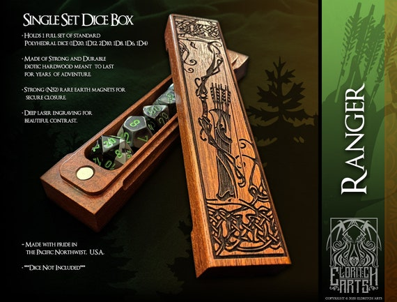 Dice Box - Ranger - RPG, Dungeons and Dragons, D&D, DnD, Pathfinder, Table Top Role Playing and Gaming Accessories by Eldritch Arts