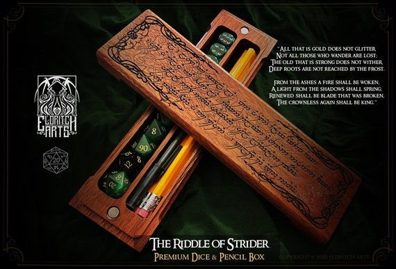 Dice & Pencil Box - Riddle of Strider - RPG, Dungeons and Dragons, DnD, Pathfinder, Lord of the Rings, Tolkien, by Eldritch Arts