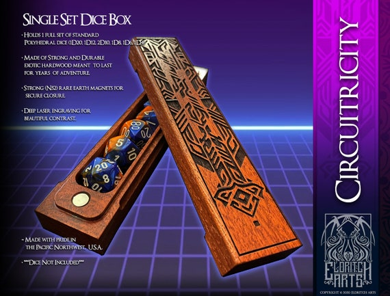 Dice Box - Circuitricity - RPG, Dungeons and Dragons, D&D, DnD, Pathfinder, Table Top Role Playing and Gaming Accessories by Eldritch Arts