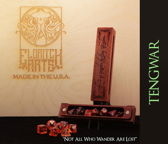 Dice Box - Tolkien Tengwar - RPG, Dungeons and Dragons, D&D, DnD, Pathfinder, Table Top Role Playing and Gaming Accessories by Eldritch Arts