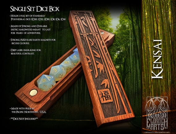 Dice Box - Kensai - RPG, Dungeons and Dragons, D&D, DnD, Pathfinder, Table Top Role Playing and Gaming Accessories by Eldritch Arts