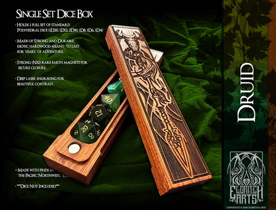 Dice Box - Druid - RPG, Dungeons and Dragons, D&D, DnD, Pathfinder, Table Top Role Playing and Gaming Accessories by Eldritch Arts