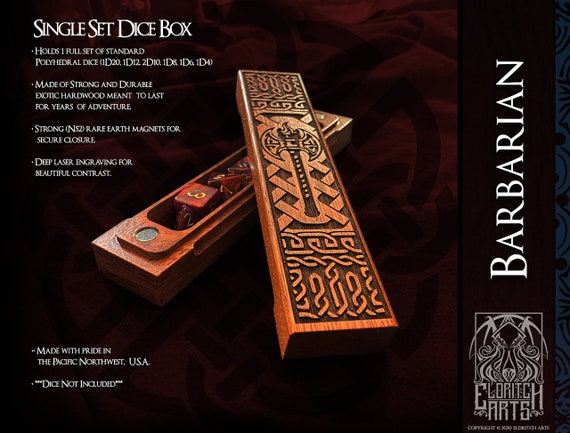 Dice Box - Barbarian - RPG, Dungeons and Dragons, D&D, DnD, Pathfinder, Table Top Role Playing and Gaming Accessories by Eldritch Arts