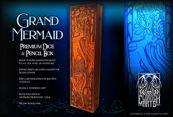 Dice & Pencil Box - Grand Mermaid - RPG, Dungeons and Dragons, DnD, Pathfinder, Role Playing and Gaming Accessories by Eldritch Arts