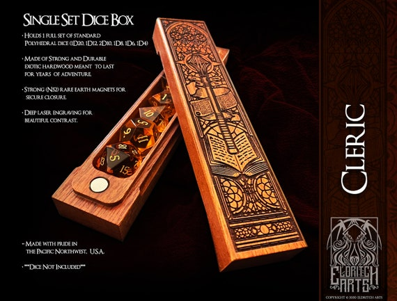 Dice Box - Cleric - RPG, Dungeons and Dragons, D&D, DnD, Pathfinder, Table Top Role Playing and Gaming Accessories by Eldritch Arts