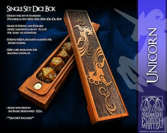 Dice Box - Unicorn - RPG, Dungeons and Dragons, D&D, DnD, Pathfinder, Table Top Role Playing and Gaming Accessories by Eldritch Arts