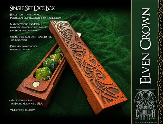 Dice Box - Elven Crown - RPG, Dungeons and Dragons, D&D, DnD, Pathfinder, Table Top Role Playing and Gaming Accessories by Eldritch Arts