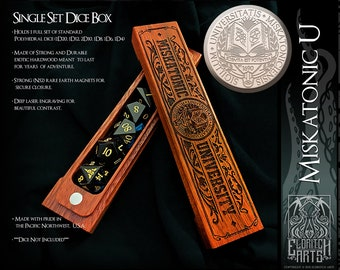 Dice Box - Miskatonic U - RPG, Dungeons and Dragons, D&D, DnD, Pathfinder, Table Top Role Playing and Gaming Accessories by Eldritch Arts
