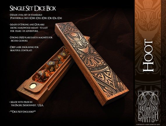 Dice Box - Hoot - RPG, Dungeons and Dragons, D&D, DnD, Pathfinder, Table Top Role Playing and Gaming Accessories by Eldritch Arts