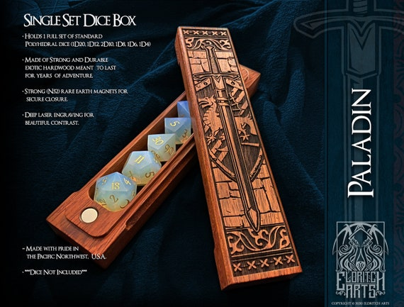 Dice Box - Paladin - RPG, Dungeons and Dragons, D&D, DnD, Pathfinder, Table Top Role Playing and Gaming Accessories by Eldritch Arts